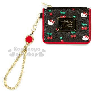 〔小禮堂〕Hello Kitty 皮革票卡零錢包《黑.大臉.櫻桃.附伸縮掛勾》