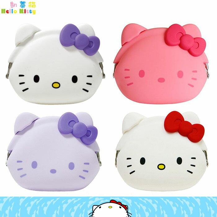大田倉 日本進口正版 三麗鷗Hello Kitty凱蒂貓 防水款 矽膠輕巧珠扣 鑰匙包 耳扣零錢包 收納包