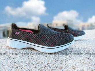 Shoestw【14145BKHP】SKECHERS 健走鞋 GO WALK4 黑桃紅編織 瑜珈鞋墊 女生