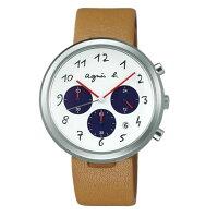 agnès b.到agnes b VD53-KC30J(BT3026X1)藝術棕時尚腕錶/白面咖啡40mm