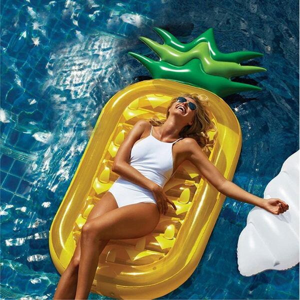 鳳梨造型泳圈浮排浮板救生圈浮床夏日休閒度假海邊沙灘【庫奇小舖】