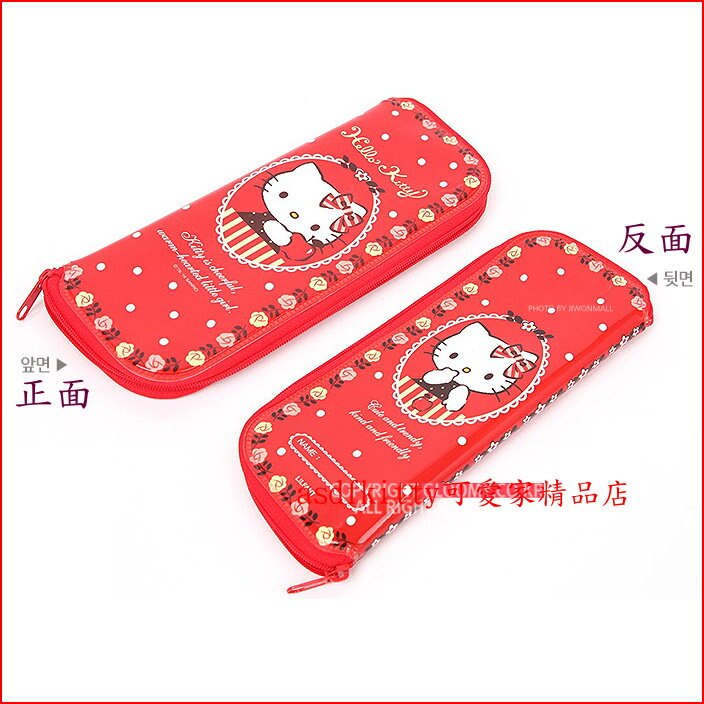 asdfkitty可愛家☆KITTY紅蘋果L號防水環保餐具袋/筆袋/收納袋-韓國製
