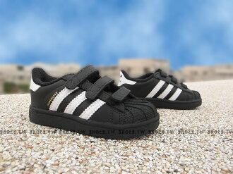 Shoestw【B23638】ADIDAS SUPERSTAR 小童鞋 經典款 貝殼鞋 黑白 金標 黏帶