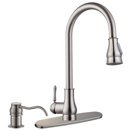 18 Kitchen Pull Out Sink Faucet Brushed Nickel Soap Dispenser 0