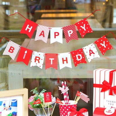 PS Mall happy birthday生日快樂派對彩旗【J709】