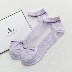 大賀屋 透明水晶絲棉底襪 襪子 紫色 白色 絲襪 隱形 船型襪 薄 短襪 學院風 襪 透明絲襪 水晶絲襪 低筒襪 女生 服飾