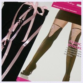 【esoxshop】╭*膝上鏤空綁帶造型大腿襪 粉紅緞帶╭*性感Party必備《網襪/大腿襪/造型襪》