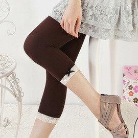 衣襪酷 EWAKU:【esoxshop】╭*蝴蝶結小白蕾絲造型七分褲╭*日系流行款《絲襪褲襪褲造型襪》
