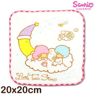【esoxshop】Sanrio 雙星仙子窯花小手巾 月亮白雲款 台灣製造好安心 三麗鷗 Little twin stars 方巾 手帕 兒童毛巾