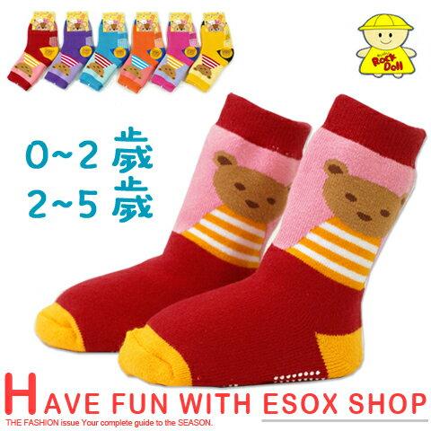 【esoxshop】保暖長筒止滑寶寶襪 條紋熊款 台灣製 Rock Doll