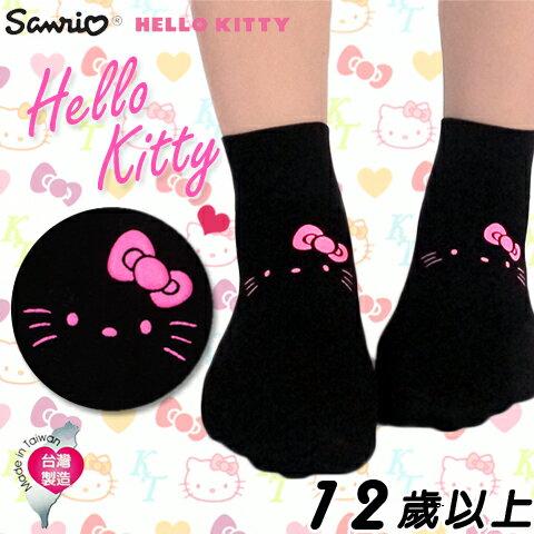 衣襪酷 EWAKU:【esoxshop】美娜斯HelloKitty限量超薄透氣寬口襪可愛貓臉款短襪花紋造型
