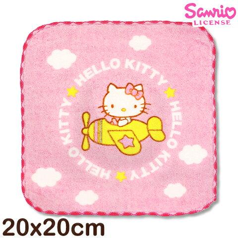 【esoxshop】Sanrio 凱蒂貓窯花小手巾-與黃色小飛機│MIT台灣製造好安心《三麗鷗/Hello kitty/方巾/澡巾/手帕/兒童毛巾》