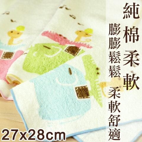 【esoxshop】Shuang Ho 動物音樂會純棉方巾│平價高品質的選擇《澡巾/手帕/兒童毛巾》