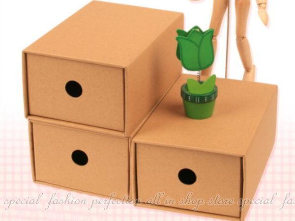 牛皮紙小抽屜收納盒3入 抽屜式收納盒 牛皮紙盒 桌上文具收納【DK120】◎123便利屋◎