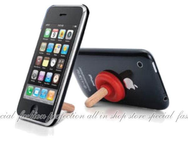 手機吸盤支架『創意馬桶泵』iphone4手機支架 馬桶吸盤支撐架~不挑款【DO211】◎123便利屋◎