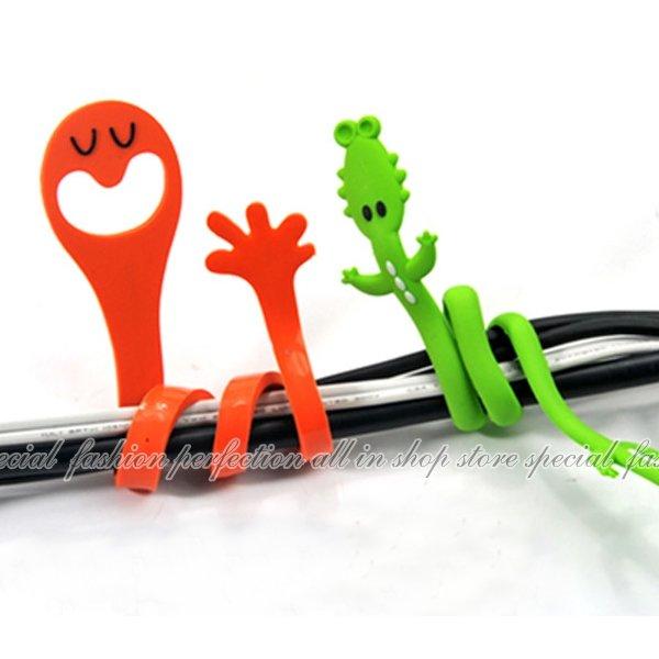 韓版 表情手指造型繞線器 動物電線捲線器 卡通集線器 理線器 綁線帶【DH286】◎123便利屋◎