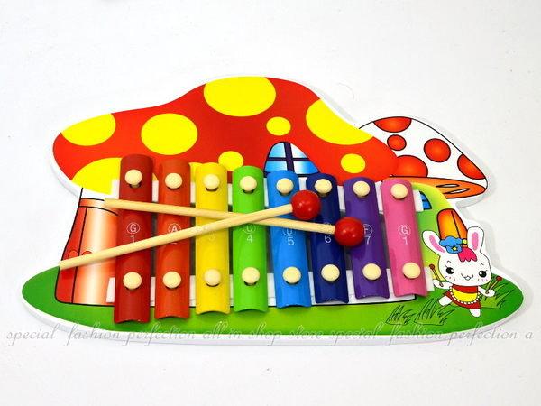 小兔蘑菇手敲琴 彩色敲琴 8音階木製敲打琴 鐵琴 打擊樂器~DF415~~123便利屋~