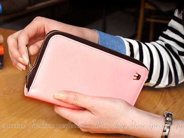 皇冠長款手機包 韓系皇冠加長款手機包 手機保護皮套 拉鍊皮夾卡【GS210】◎123便利屋◎