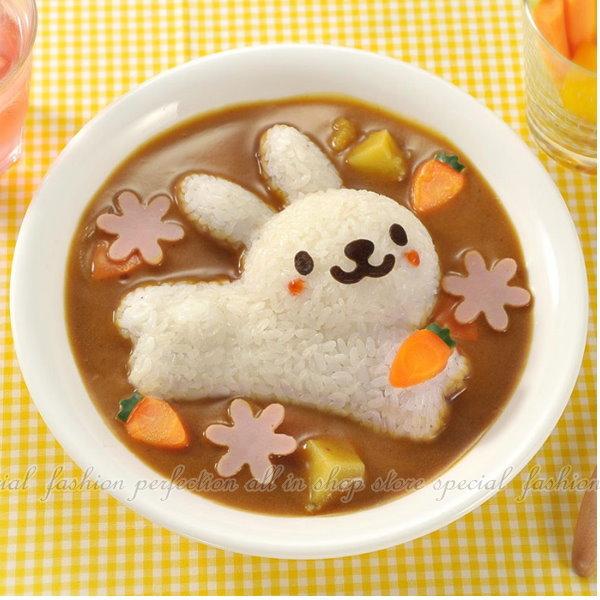 兔子海豚米飯模具4件組 DIY便當 蓋飯咖哩飯 4件套組飯糰模具【DI420】◎123便利屋◎