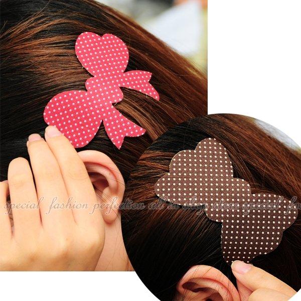 波點蝴蝶結魔法萬能貼 蝴蝶結髮飾造型 無痕瀏海便利魔法氈(瀏海貼/瀏海便利貼)【GL345】◎123便利屋◎