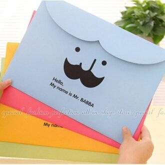 鬍子文件袋 韓版可愛魔術粘文件夾 A4文件收納袋 資料袋 橫式檔案夾【DN378】◎123便利屋◎
