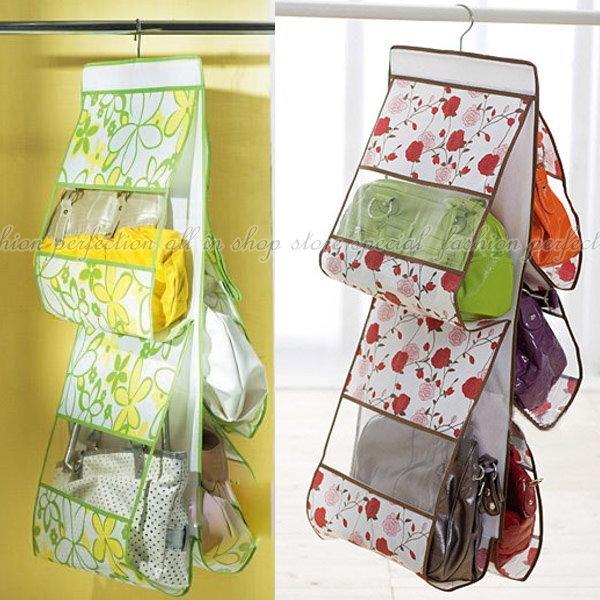 雙面五層透明包包收納袋 皮包收納袋 整理袋 收納包 五口掛袋【DW370】◎123便利屋◎