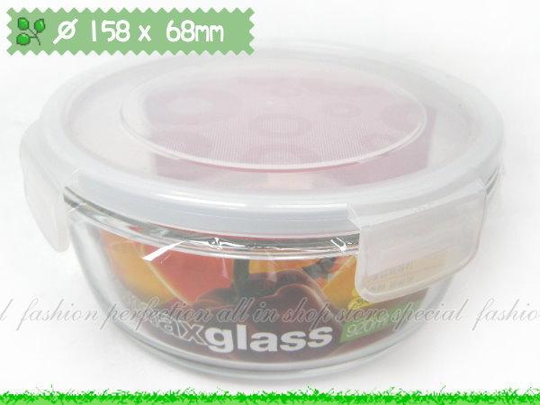 韓國KOMAX 長春藤強化玻璃保鮮盒670ML圓形款微波保鮮~GJ282~~123便利屋~