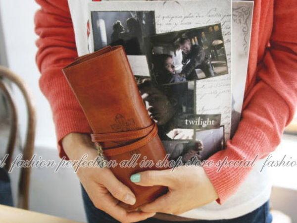 韓國 暮光之城復古綁帶式三折高級皮革筆袋 皮質筆袋 鉛筆盒 收納袋 化妝袋【DG230】◎123便利屋◎