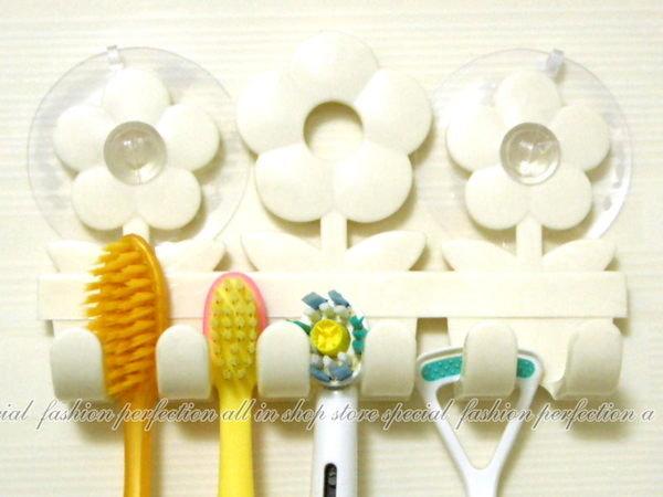 123便利屋:花朵可愛家人吸盤式造型牙刷架牙刷掛牙刷伴侶牙刷座電動牙刷可用【DH247】◎123便利屋◎