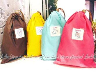 韓風彩色旅行收納袋-M 幸運袋27x19雜物收納袋 拉口袋 束口袋 標貼袋【DI340】◎123便利屋◎