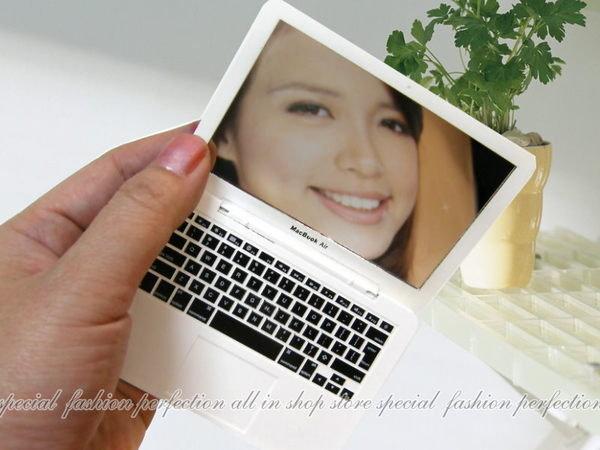 迷你版仿真Apple macbook Air 化妝鏡 女優鏡 隨身摺疊鏡子~不挑色【DI264】◎123便利屋◎