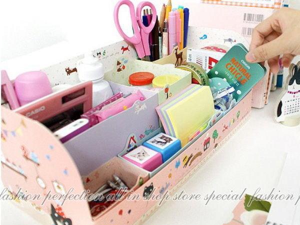 新款韓國卡通動物桌面六格置物收納盒 DIY收納盒 6格整理盒 置物盒【DL308】◎123便利屋◎