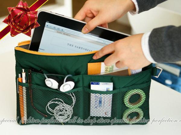 韓風『15吋多功能彩色ipad收納包』包中包 筆電整理包 旅行收納包【DU310】◎123便利屋◎