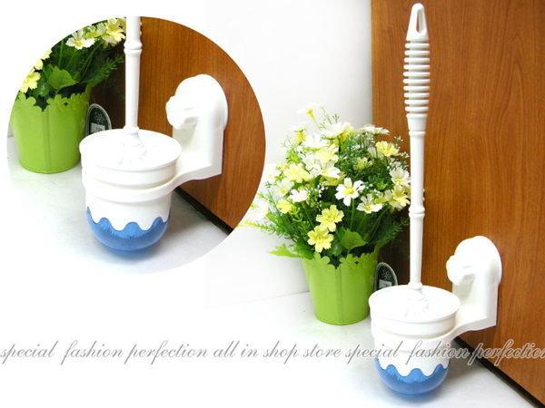 SQ1904 吸盤式浴室馬桶刷架 馬桶刷柄 吸壁式潔廁套組【GL380】◎123便利屋◎
