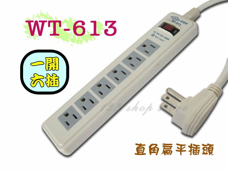 <br/><br/>  WT-613 12尺(3.6m)電腦電源線組3孔插座延長線 1開6插~台灣製造【GL328】◎123便利屋◎<br/><br/>