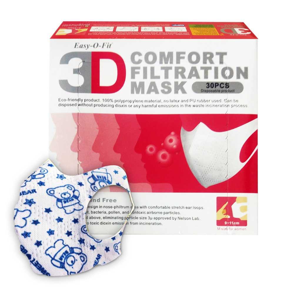 (平均一盒135元)超服貼3D立體口罩(M號9-11cm 成年女性用) (小熊印花) 30片X2盒(台灣製造 細菌過濾BFE平均高達95%)  專品藥局【2016216】