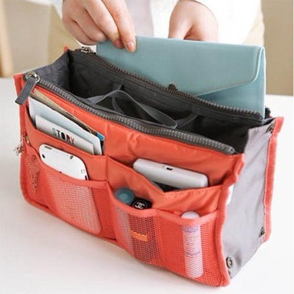 韓國化妝包-擴充機能加大防水雙拉式手提收納包包中包網狀收納包【庫奇小舖】