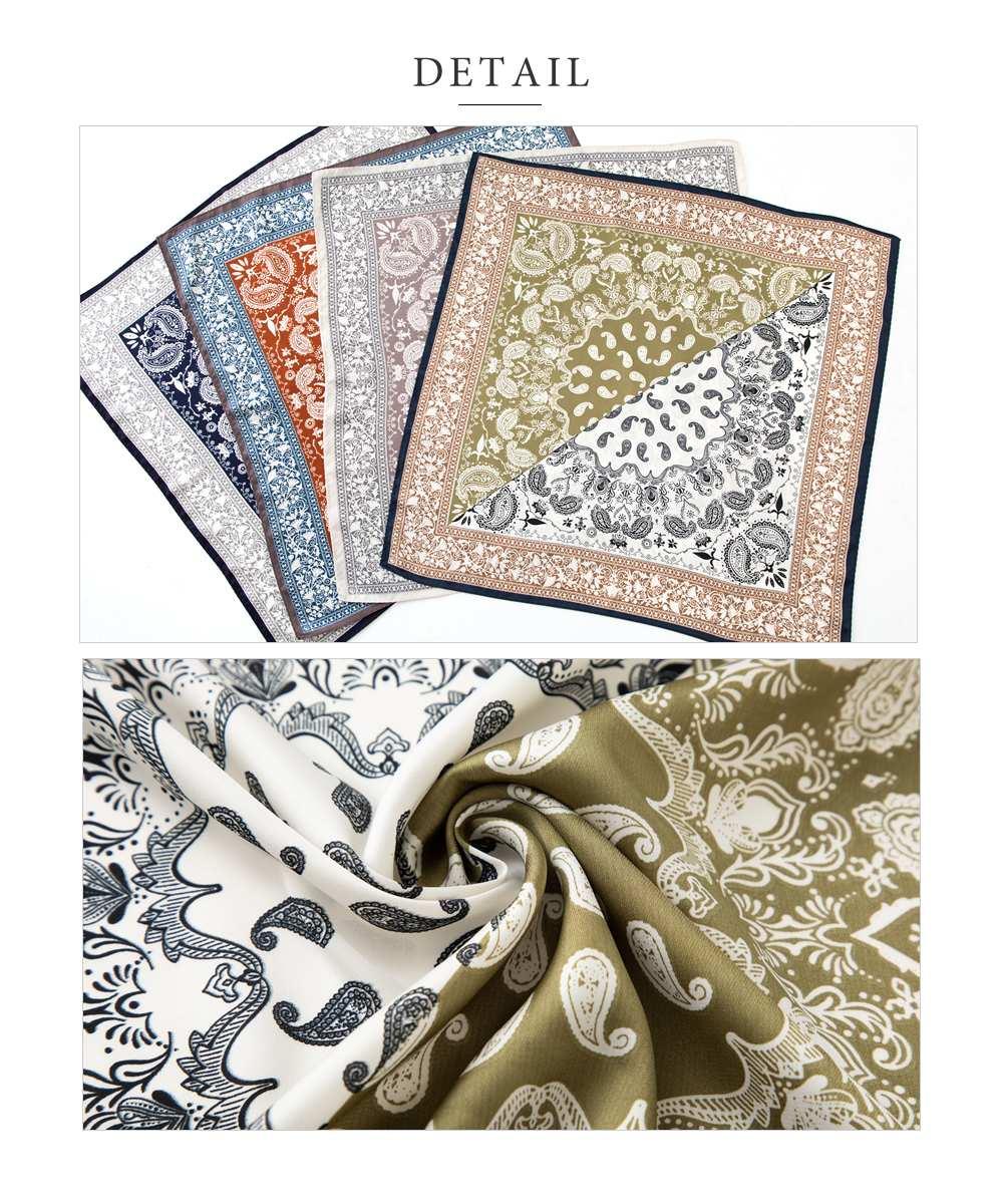 日本CREAM DOT  /  スカーフ バッグ リボン 正方形 小物 ストール 大人 上品 エレガント フェミニン バイカラー ネイビー ベージュ ブラウン カーキ  /  a03514  /  日本必買 日本樂天直送(1690) 4