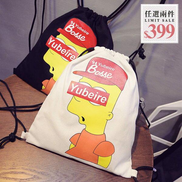 辛普森水桶包-街頭塗鴉辛普森印花棉麻伸縮口多功用水桶包 後揹包 手提包【AN SHOP】