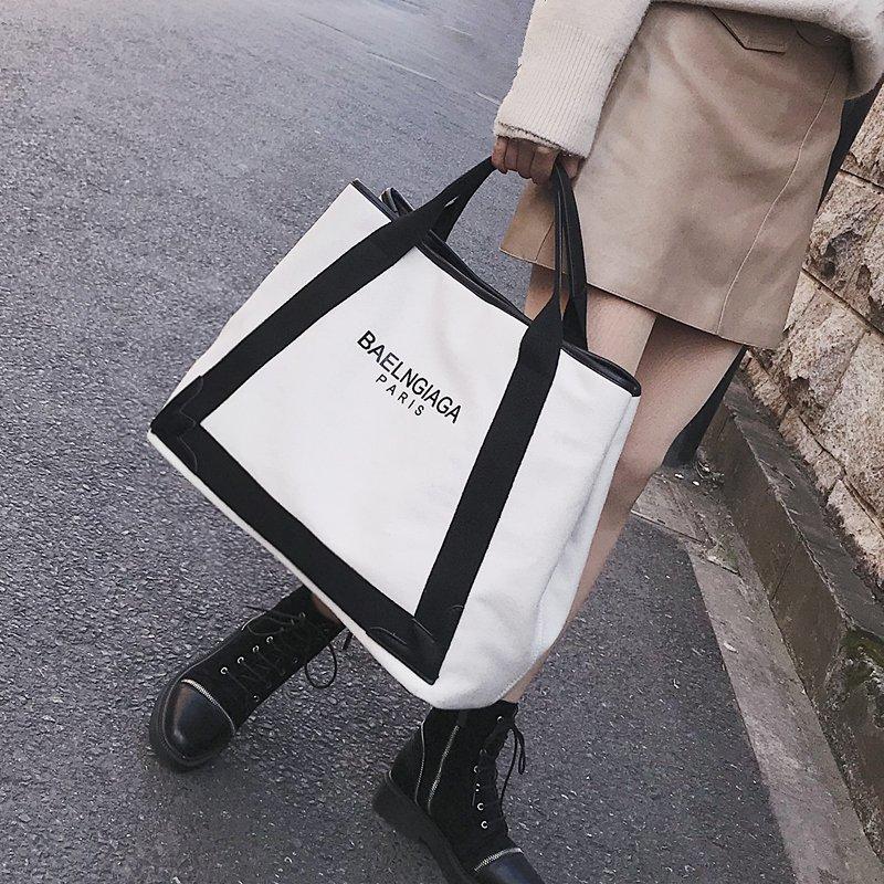 帆布包-大包包新款歐美明星同款帆布包單肩包斜背包側背包大容量手提包 0
