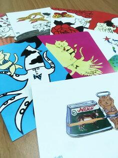 [MANGOART]貓咪明信片搞怪可愛貓奴魷魚花牌夏日大作戰