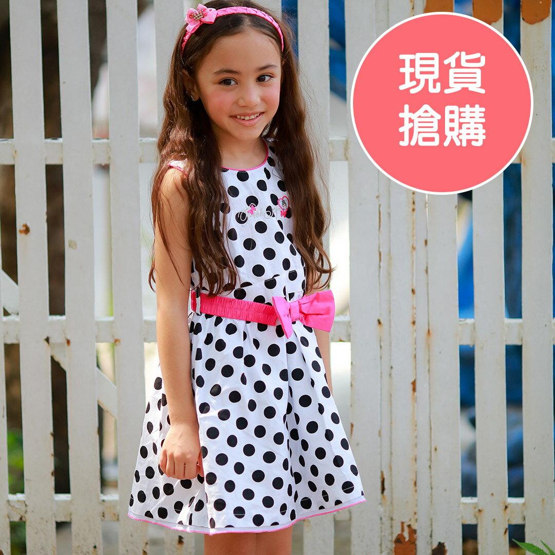 粉紅娜娜童裝 女童黑白圓點無袖洋裝 花童表演禮服 23175