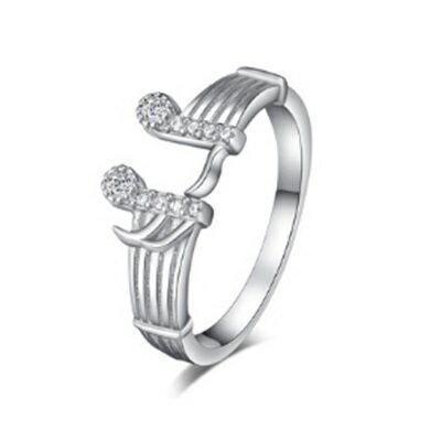 925純銀戒指鑲鑽銀飾~精緻亮眼音符 母親節生日情人節 女飾品73dx8~ ~~米蘭 ~