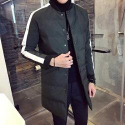 ★夾克外套棒球領棉衣-時尚撞色線條中長版男外套3色73qa15【獨家進口】【米蘭精品】