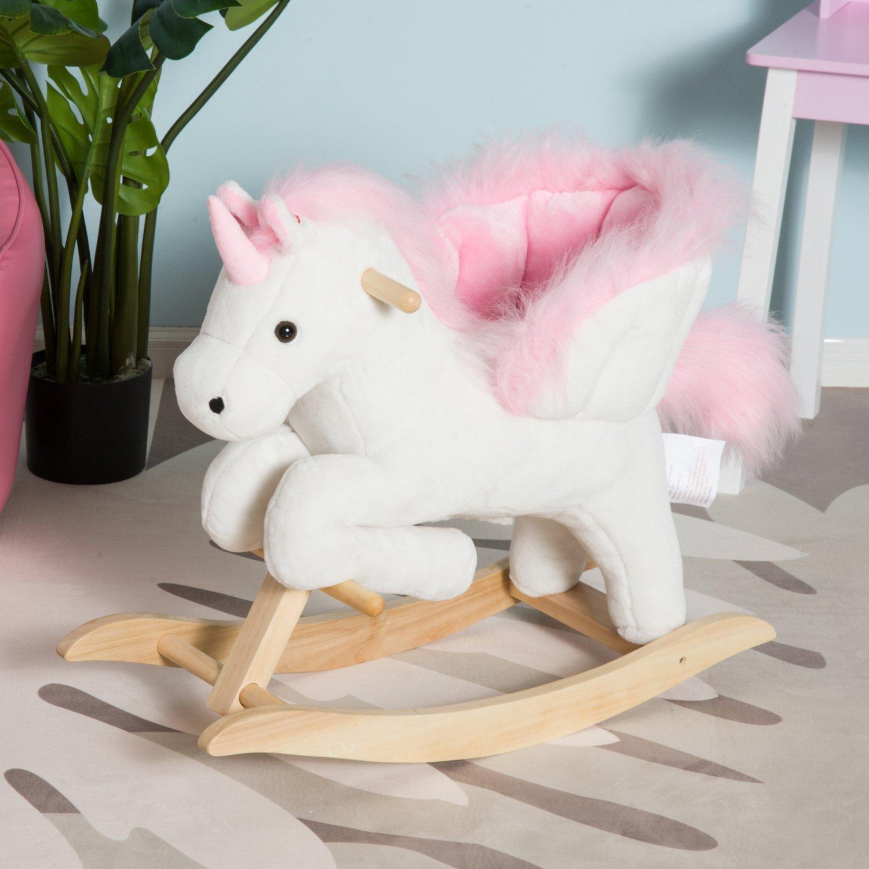 Aosom Qaba Kids Plush Toy Rocking Horse Unicorn Chair With 32