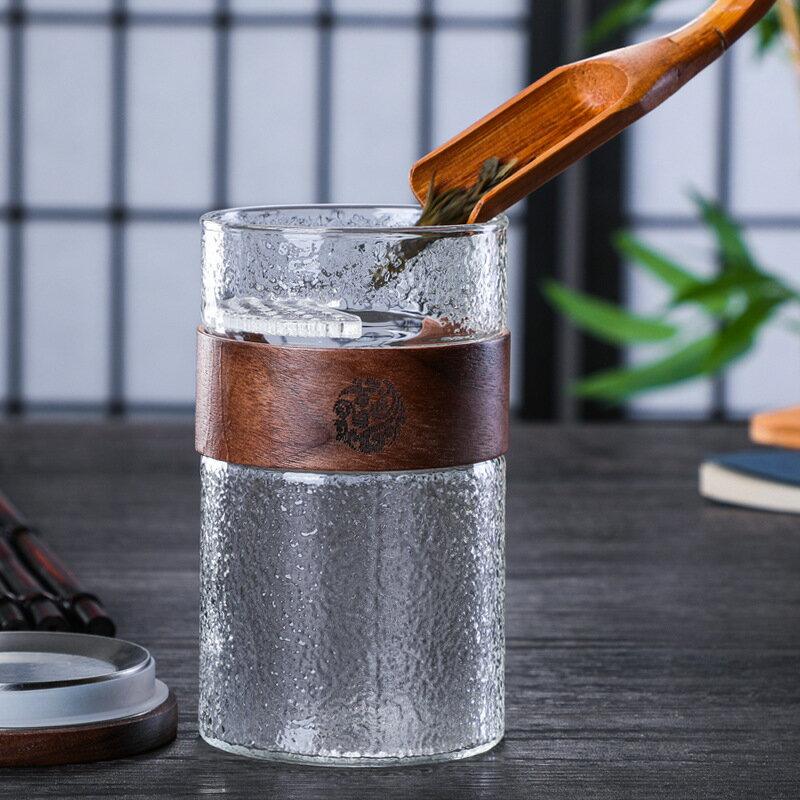 免運 玻璃杯 日式錘紋杯 創意玻璃杯 內膽過濾泡茶杯 單人功夫茶 喝茶杯子G2287