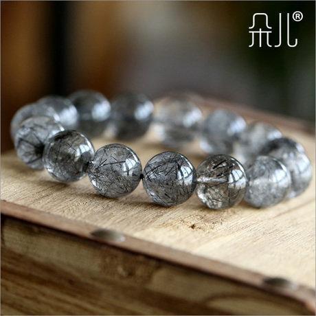 黑發晶手鏈14mm男士手鏈 極品水晶
