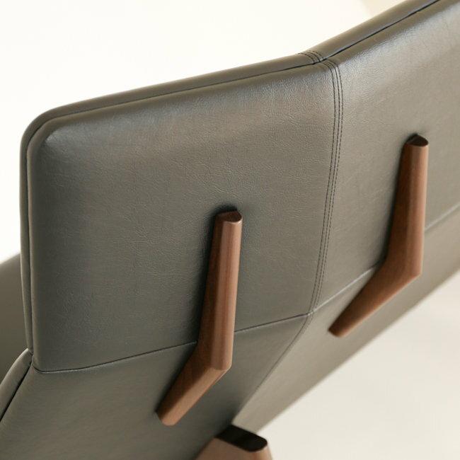 【世貿一館展示中】GRANDE 沙發 3人座 黑胡桃木 黑色真皮【OUTLET】 2