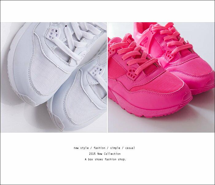【KPF-18】韓國時尚運動風 嚴選螢光色系透氣網眼繫帶舒適休閒運動鞋 慢跑鞋 4色 2