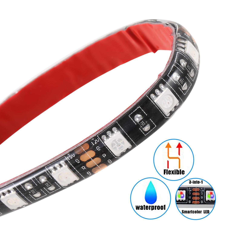 12pcs Multi-Color Waterproof Flexible Strip Motorcycle Car LED RGB Lighting Kit 2